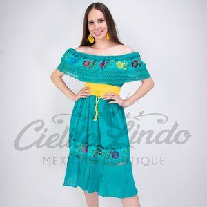 Mexican Stretchy Dress Teal Off the shoulder Dress